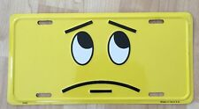 SMILE SMIRK QUESTION FACE Novelty LICENSE PLATE TAG METAL Yellow & Black