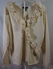 Chaps Women's Long Sleeve Ruffle Front Knit Top Off White Cream Extra Large XL