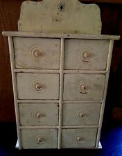 ANTIQUE WHITE WOODEN SPICE CABINET/CHEST/ APOTHECARY-VINTAGE