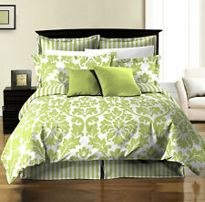 8pcs Damask Stripe Printed Reversible Comforter Sheets Bed in a Bag Set Cal King