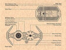 Star Wars Tie Bomber Blue Prints   Imperial Fighter   Print Replica/Poster/Flyer