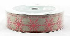 Red Sparkle Snowflake on Natural Burlap Wired Ribbon 50 yard NEW holiday bow