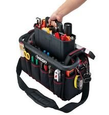 Husky 20 in Pro Electrician Heavy Duty Empty Tool Bag Storage with Pull out Tray