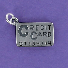 Credit Card Charm Sterling Silver for Bracelet Charge It Shopping Buy Purchase