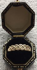 Vintage 9 CT Diamante 12 oro anillo de cruce de media eternidad