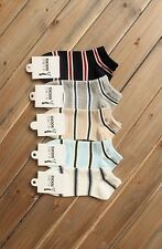 Men 9-11 New Athletic Sports Cotton Crew Ankle Socks 5 Pairs Lot Striped Pattern
