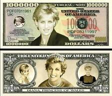 LADY DIANA - BILLET MILLION DOLLAR US! Collection PRINCESSE Famille Royale Di UK