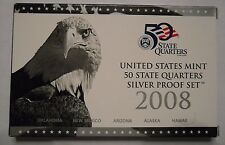 2008 US MINT 5 COIN SILVER PROOF STATE QUARTER SET with box & COA