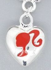 SILVER HEART WITH RED GIRL HEAD PONYTAIL CLIP ON CHARM FOR BRACELETS  - NEW