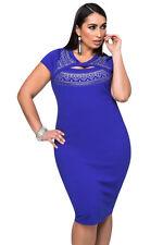 Ladies Black Smart Curvaceous Cutout Foil Print Bodycon Dress Plus Size 14 16 18