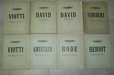 Lot de 8 partitions pour violon édition PETERS SCHUBERT VIOTTI DAVID BERIOT RODE