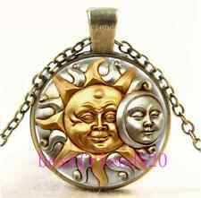 Vintage SUN AND MOON FUSION Cabochon Glass Bronze Chain Pendant Necklace