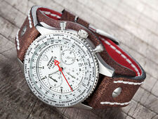DETOMASO FIRENZE RETRO Chronograph Stainless Steel White Leather Strap Brown(33)