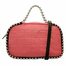 "Furla Ginger Quilted Leather Silver Beaded Bag in ""bon bon"" Pink"