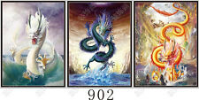 3 MYTHICAL DRAGONS- Animated and 3D Lenticular Poster Print - 12x16