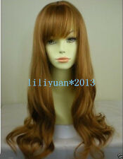 Women Ladies Sexy Long Ginger Blonde mix wavy curly Natural Hair full wigs / Wig