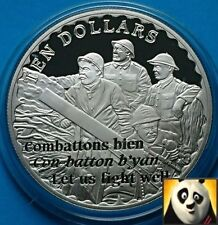 2008 CAYMAN ISLANDS $10 Dollars WWI Anniv. Trench Life Silver Proof Coin