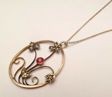 ANTIQUE VICTORIAN 10k GOLD SEED PEARL RED STONE FLOWER PENDANT CHAIN NECKLACE