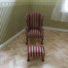 JIAYI DOLLS HOUSE RED STRIPED WING CHAIR & FOOTSTOOL 12TH SCALE
