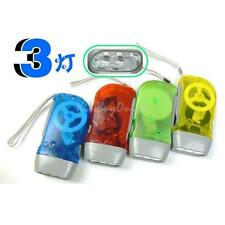 Hand-pressing Dynamo Flashlight Torch With 3 LED Lamps (Color Random Package)