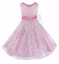 Festliches Spitze Mädchen Kleid Fest-Kleid Kinder Hochzeit Prinzessin Gr.104-176