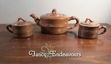 Chinese Yixing Porcelain Tea Set Teapot & 2 Cups with Lids Calligraphy Bamboo