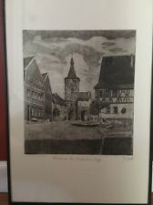German City Etching Framed Signed Labeled With Coat Of Arms Dog And Shield