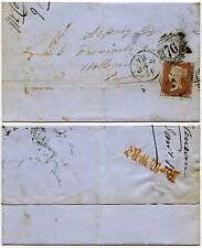 PENNY RED STAR RED BROWN 1856 COVER..NORTH WEST RAILWAY