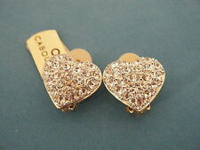 Vintage Cabouchon Heart Gold Tone With Rhinestones Earrings Jewelry