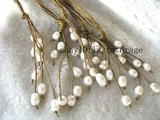 """5strands freshwater pearl white brown line necklace 18"""""""