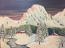 Deco Modern Oil On Canvas Signed Florence del Bosque 1949 Landscape Painting