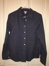 LL BEAN women's button down shirt. Blue, pink, green plaid. Size M. Fits 10-12.