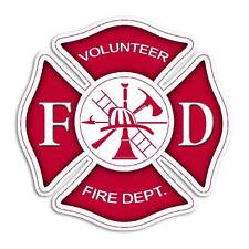 Red Maltese Cross Volunteer Fire Department Sticker - Firefighter Decal