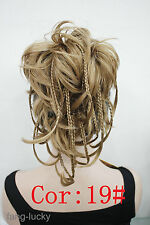 Light Strawberry Blonde wire braid claw clip ponytail hair pieces wig FPTLF010