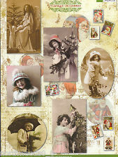 VICTORIAN VINTAGE STYLE GIRLS POSTCARD CHRISTMAS CUTOUT PAPER ORNAMENT COLLAGE