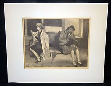 """1940s Russian Black & White Litho Print """"Casting Office"""" by Raphael Soyer (Dov)"""