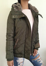 Urban Outfitters Levi's Coat Faux Fur Hooded Green Size Medium NWT $180