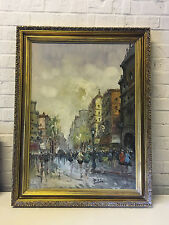 Impressionist French Street Scene Oil Painting Signed Illegibly in Gold Frame