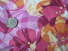 SWEET Vintage ORANGE PINK YELLOW FLOWERS On PINK 1990's COTTON Fabric-over 3 yd