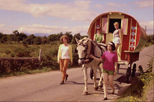 585059 Four Girls With Horse drawn Caravan Ireland A4 Photo Print