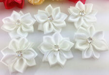 DIY 10-100PCS Satin Ribbon Flower with Crystal Bead Appliques~Craft/Trim