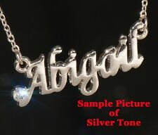 KELLY Name Necklace with Rhinestone Gold or Silver Tone