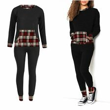 Ladies Womens Tartan Contrast 2 Piece Tracksuit Jogging Loungewear Set Plus Size