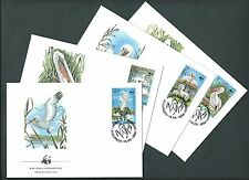 ROMANIA 1984.  WWF OFFICIAL FDC. DALMATIAN PELICANS. / BIRDS. Set of 4 COVERS