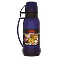 THERMOS Originals 1 litre Drinks FLASK BLUE Glass Vacuum Insulated with 2 x Cups