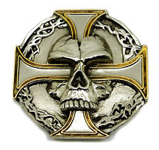 Skull Belt Buckle Silver Cross Gothic Heavy 24ct GOLD Authentic Pagan Product