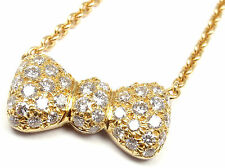 Rare! Authentic Van Cleef & Arpels 18k Yellow Gold Diamond Bow Necklace