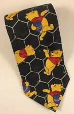 Winnie The Pooh Neck Tie Honey Pot And Bee's 100% Polyester Black