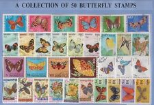 50 BUTTERFLIES THEMATIC STAMPS - ALL DIFFERENT & GENUINE