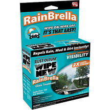 Rust-Oleum Wipe New RAINBRELLA GLASS TREATMENT Repels Rain Mud Dirt WINDSHIELD C